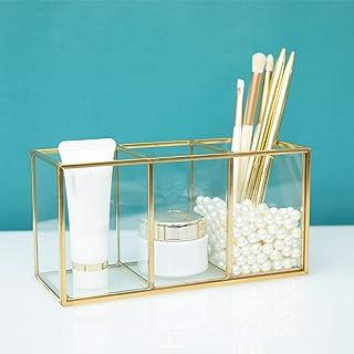 Cosmetische Opslagorganisator Glazen en Metalen Make-updoos, Houder Voor Make-upborstels met 3 Compartimenten, Voor Briefp...