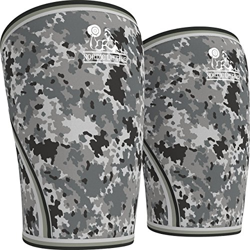 Knee Sleeves (1 Pair) Support & Compression for the Best Squats, 7mm Neoprene - by Nordic Lifting (Camo Grey, L)
