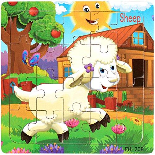 Puzzles de Madera, WINWINTOM Desarrollo Educativo Bebé Niños Juguete Regalo (Patrón_8)