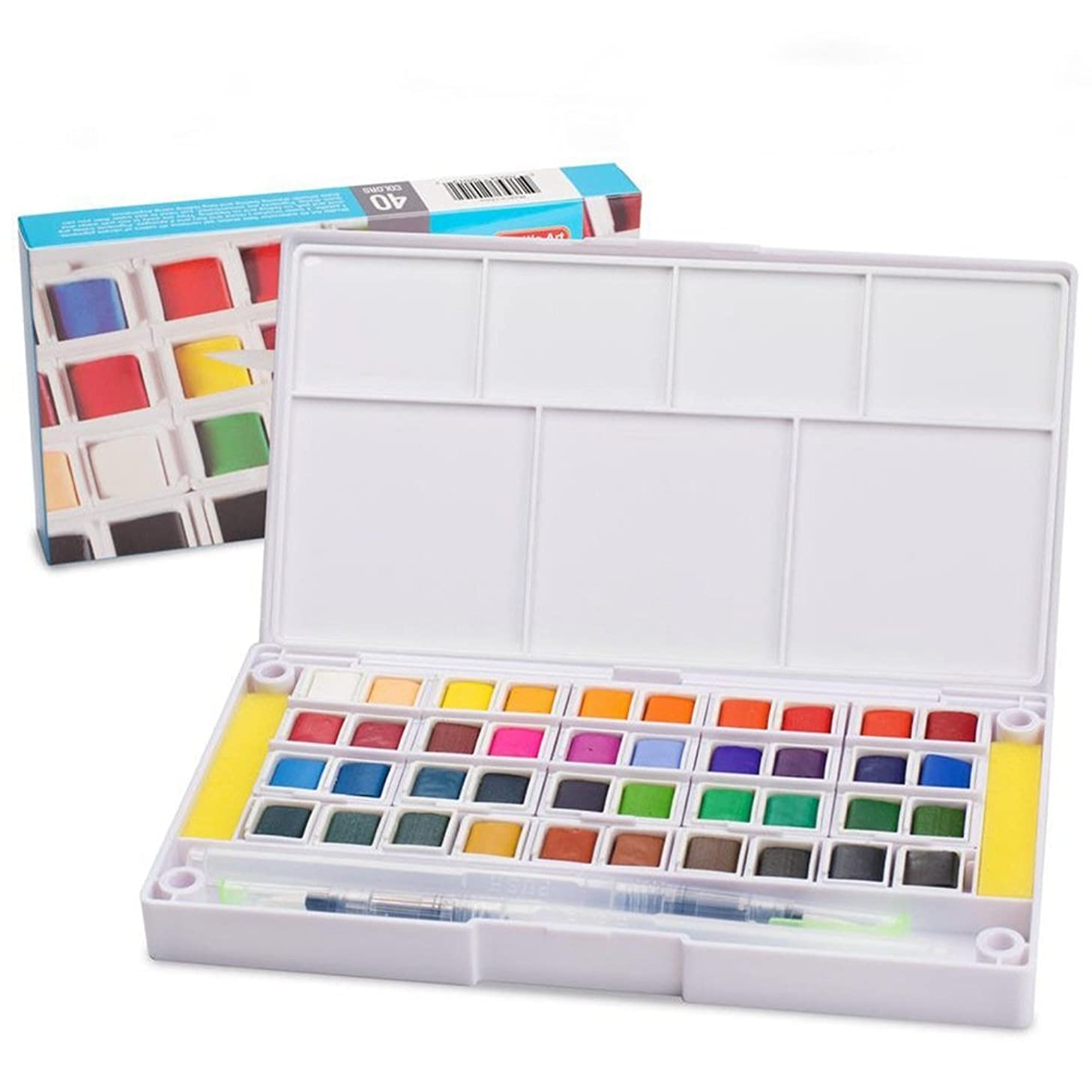 Watercolor Paint Set,40 Colors Watercolors Field Sketch Set with Brush - Travel Case Includes 2 Water Brushs - 2 Sponges - 1 Mixing Palette, Perfect for Painting