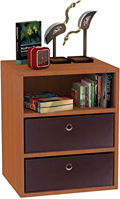 Klaxon Statice Three Drawer Storage Cabinet with Two Fabric Box (Cherry and Brown)