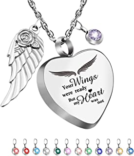 Dletay Heart Urn Necklace for Ashes with 12 Birthstones Cremation Jewelry for Ashes -Your Wings were Ready My Heart was Not