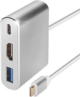 Type C USBto HDMI 変換アダプタ タイプCUSB3.0 PD充電端子を搭載する ハブ アダプター 変換ケーブル幅広い互換性がある4K解像度 高速データ転送 3in1 同時に使用できスマホ変換 タブレット変換 ディス...