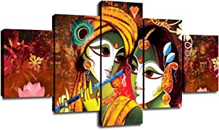Decor for Wall Radha Krishna Picture Classic Painting 5 Panel Canvas Wall Art Living Room Decorations Poster Prints Framed...