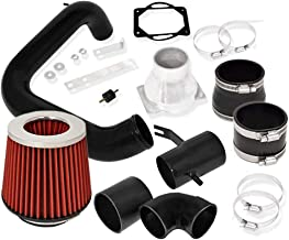 For 2002-2005 Mitsubishi Lancer ES/LS/OZ Rally (2.0L Manual Transmission Only) Aluminum High Flow Cold Air Intake System Black Pipe with Air Filter Red