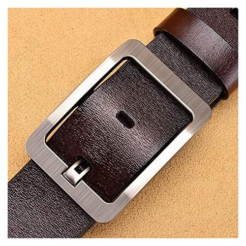 Without logo SFQRYP Cuero Genuino para Hombres Hebilla Negra Jeans Cinturón Cinturones Casuales Cinturón de Negocios Cintura (Belt Length : 120cm, Color : 777 3.8CM Coffee)