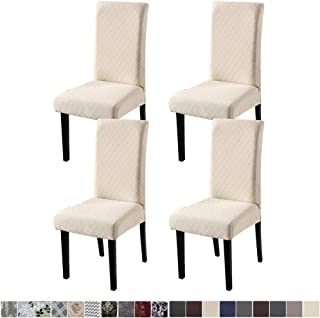 Fuloon 4 Pack Super Fit Stretch Removable Washable Short Dining Chair Protector Cover Seat Slipcover for Hotel,Dining Room,Ceremony,Banquet Wedding Party (Beige)
