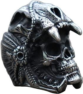 Indian Jaguar Warrior Skull Stainless Steel Ring for Men