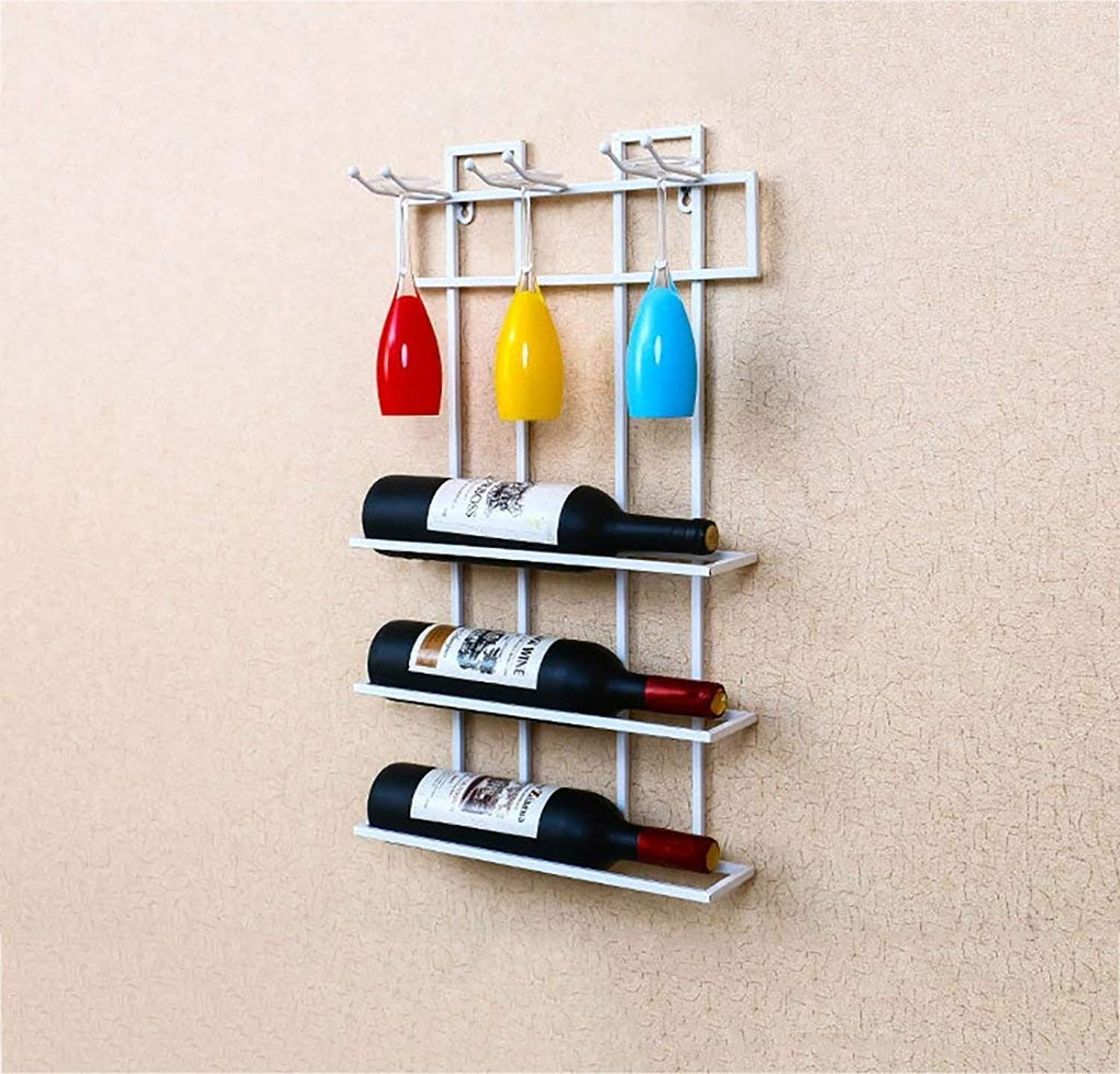Red Wine Shelf Wine Racks Metal Wall Mounted Wine Racks European Style Iron Multi-Bottle Red Wine Bottle Holder Upside Down Creative Wine Racks (Black, Bronze, White, Three colors Available) (color