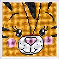 子供のための簡単な5Dダイヤモンド絵画キット、家の壁の装飾のための木製フレーム付きの番号によるラウンドフルドリルラインストーン写真アートクラフトペイント、8 x8インチ,Tiger