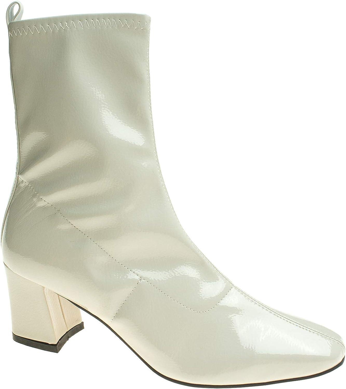 AnnaKastle Womens Stretch Shaft Ankle Bootie Fleece Heel Boots