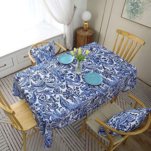 shiyueNB Europees retro tafelkleed Barok stijl paisley patroon rood blauw tafelkleed salontafel doek rechthoek 140 * 220 Peacock Blue Without Lace
