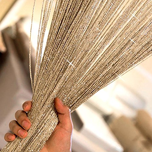 String Curtains Sparkle Door Curtain,Curtains Panel Divider Window Door Fly Screen for Door Wall and Window Decoration,200cm x 100 cm(200cm100 cm,Golden)