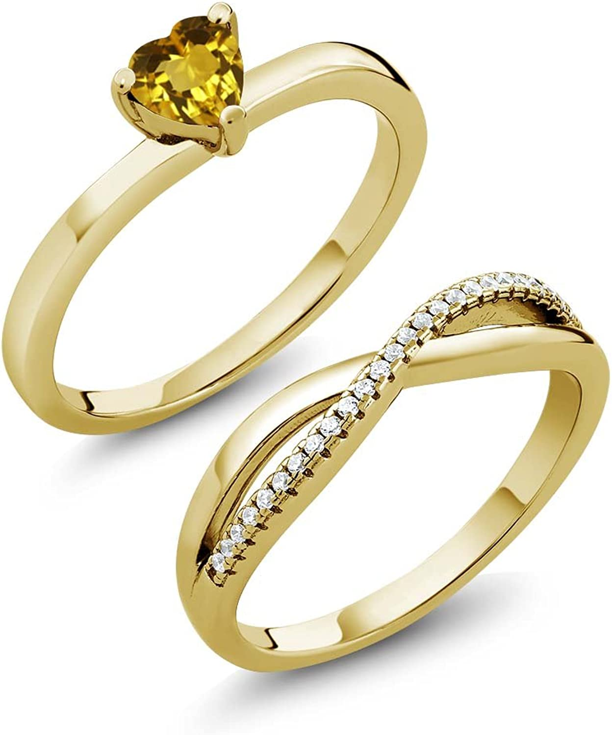 0.76 Ct Heart Shape Citrine 18K Yellow gold Plated Silver Engagement Wedding Ring Set