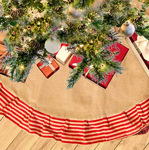 Happy Packs Christmas Tree Skirt Tree Mat for Christmas Tree for Xmas Holiday Decoration for Home Party Supplies for Gifts and Ornaments Under The Tree (Burlap Candy Stripes, 40