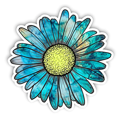 Vinyl Junkie Graphics Daisy Flower Sticker for Car Truck Windows Laptop Any Smooth Surface Waterproof (Cyan Dream)