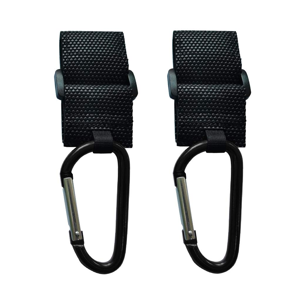 WeTest 2 Pack Durable Baby Stroller Organizer Hook Clip for Baby Diaper Bags, Diaper Bags, Purse - Black