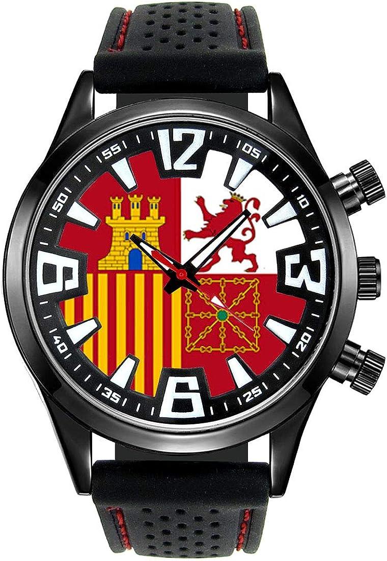 Timest - Bandera Naval de España - Reloj para Hombre con Correa de Silicona Negro Analógico Cuarzo SF514