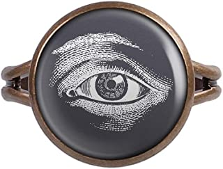 Mylery Ring with Cabochon Picture Eye Illuminati White Black Bronze Different Sizes