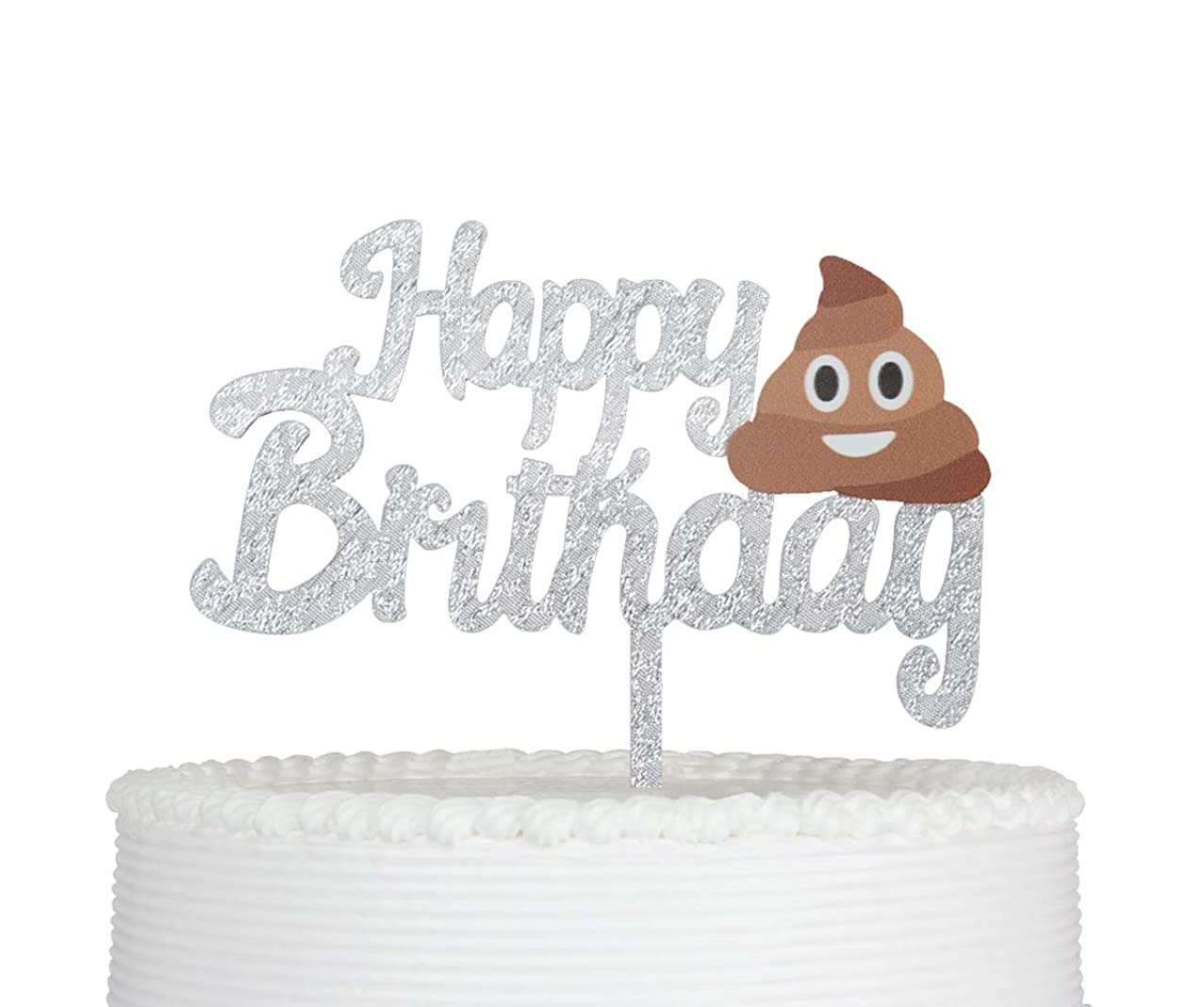Happy Birthday Cake Topper Cartoon Acrylic Funny Cake Topper Party Decoration Supplies Silver Glitter