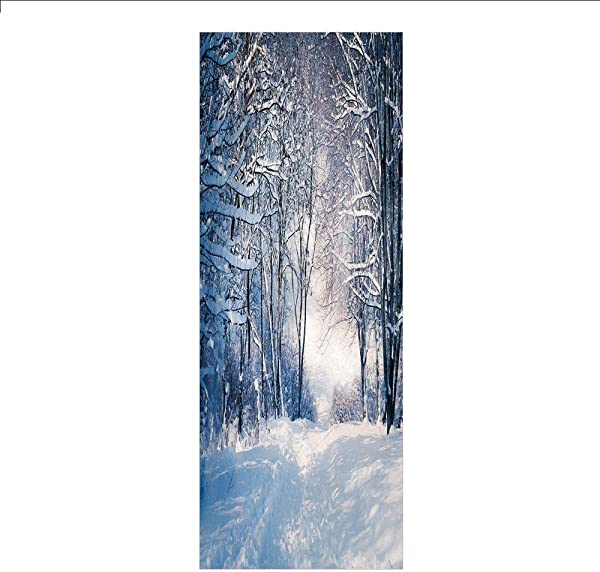3D Decorative Film Privacy Window Film No Glue Winter Alley In Snowy Forest Cold Freezing Weather Rural Nature Outdoors Woodland Decorative For Home Office