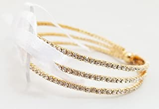 Floral Corsage Bracelet in Gold, Rhinestone Artemesia Collection