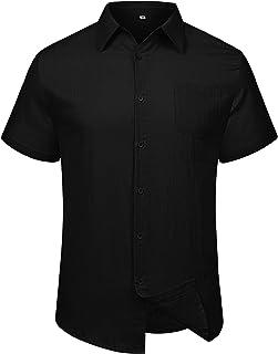 LecGee Men's Linen Shirt Casual Regular Fit Short Sleeve Button Down Beach Shirt