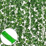 12 Pack Plantas Artificial Decoración Hojas, Hiedra Artificial 26m Garland Plants Hanging Wedding...