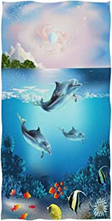 Naanle 3D Beautiful Underwater World with Dolphins Fish Print Soft Guest Hand Towels for Bathroom, Hotel, Gym and Spa (16 x 30 Inches)