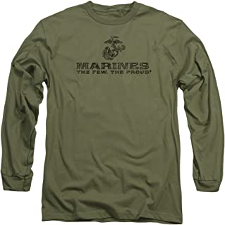 Trevco US Marine Corps Distressed Logo Unisex Adult Long-Sleeve T Shirt for Men and Women