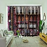BLZQA Cortinas Opacas Cortina térmica Cable Ojales Cortina Infantiles Habitaciones Poliéster Tejido Salón Dormitorio Decoración de la Ventana 110 cm x 215 cm x 2