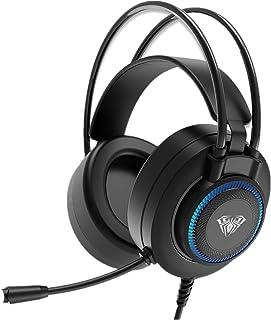 AULA S601 Auriculares para Juegos con Cable Y MicróFono Sonido Envolvente, USB Dual 3.5mm Control De Volumen En La Oreja A...