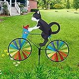 Jollgii Molinos de viento para jardín, hiladores de viento para niños, esculturas de pie de bicicleta vintage decoración de patio al aire libre adornos de césped gato y perro juguete animal regalo (A)