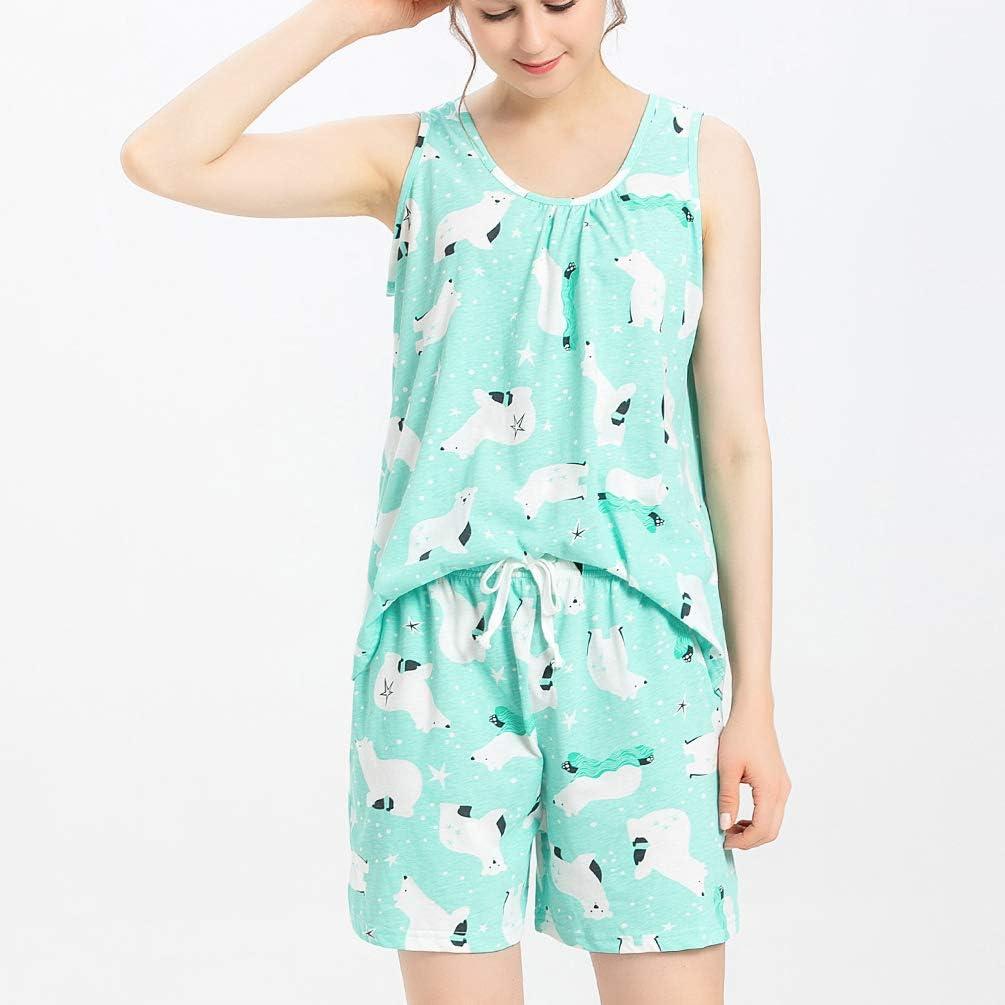 ENJOYNIGHT Womens Cute Sleeveless Print Tee and Shorts Sleepwear Tank Top Pajama Set