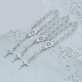 24pcs Clear Acrylic Mini Rosary Favors - Baptism - Communion - Recuerditos De Bautismo - Christening - Decenarios - Wedding