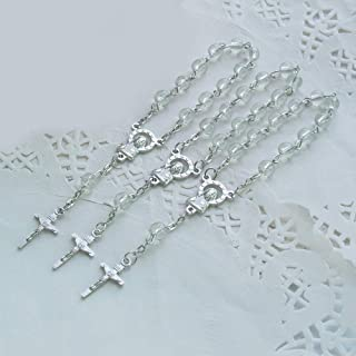 24pcs Clear Acrylic Mini Rosary Favors - Baptism - Communion - Recuerditos De Bautismo - Christening - Decenarios - Wedding