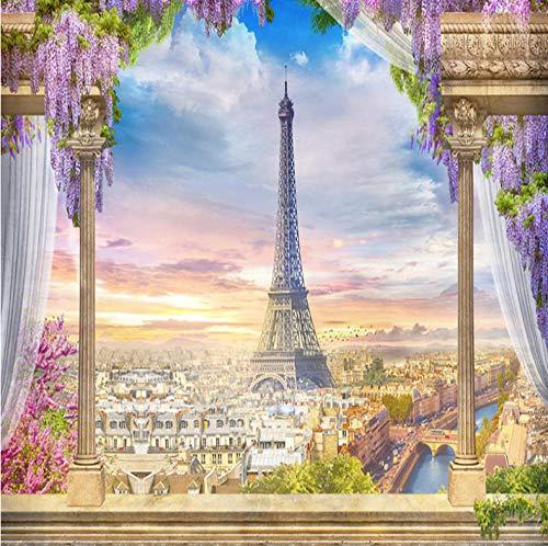 Fotobehang Parijs Cityscape muur muurschildering 3D niet-geweven moderne huisdecoratie voor slaapkamer badkamer 350x245cm