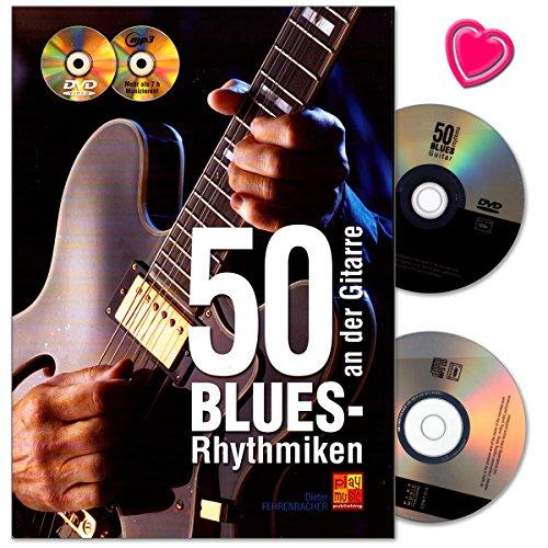 50 blauwe ritmes aan de gitaar – leerboek met 50 blauwe ritmepatronen die op de hits van wereldberoemde gitaristen zijn gebaseerd – notenboek met cd, dvd en kleurrijke hartvormige muziekklem