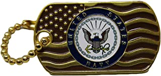 ALBATROS Pack of 6 United States Navy Waving Gold Flag Hat Cap Lapel Pin/Key Chain for Home and Parades, Official Party, All Weather Indoors Outdoors