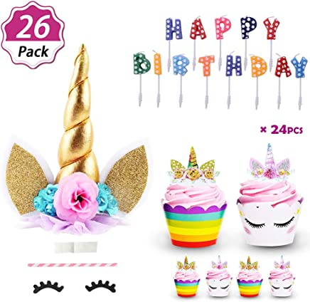 2e5b05ab1d2 DaisyFormals Unicorn Cake Topper with 24 Pcs Unicorn Cupcake Toppers  Wrappers + Happy Birthday Candles