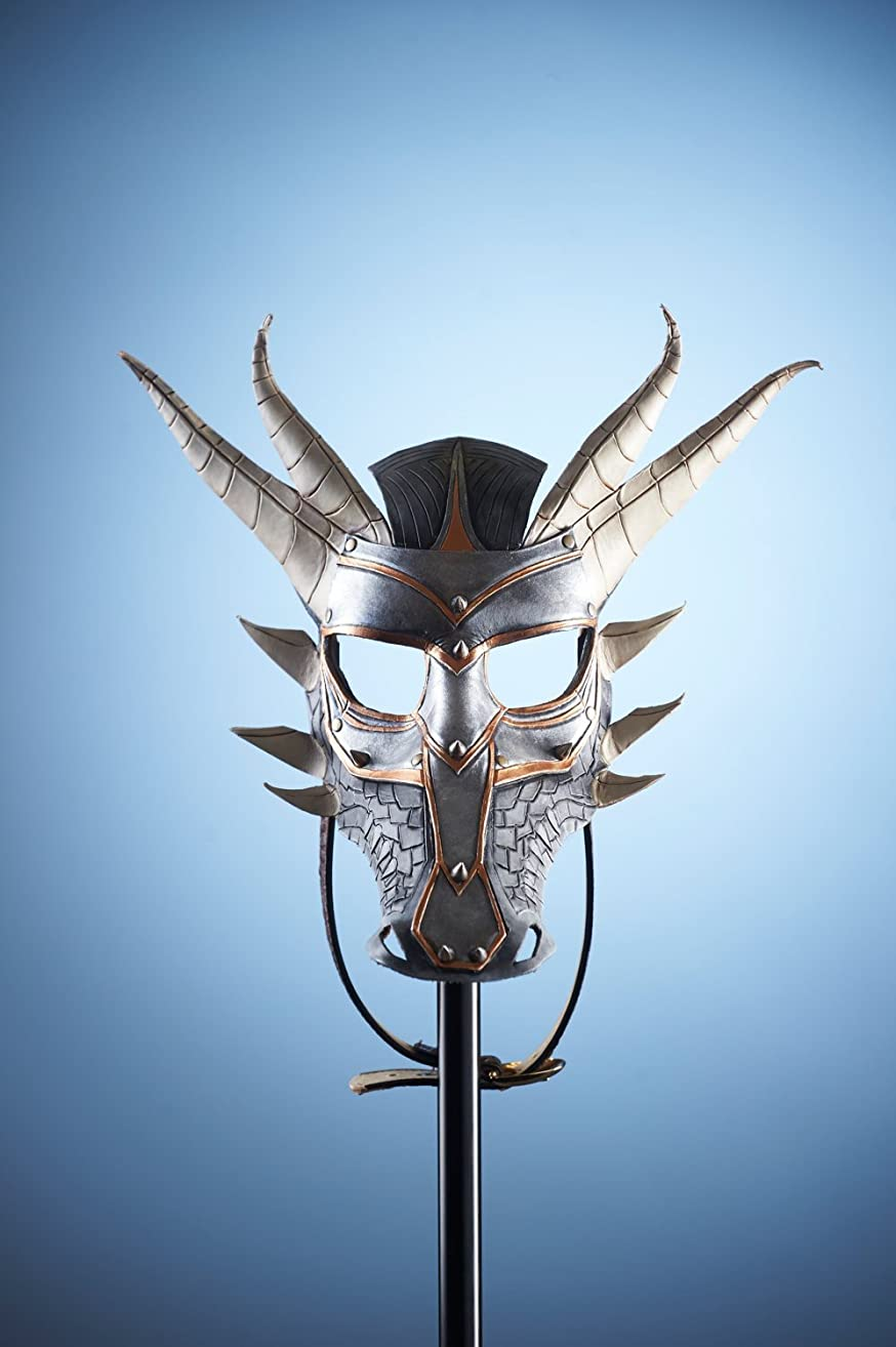 Dragon Handmade Genuine Leather Mask for Masquerades Halloween or Cosplay Costume- Armored Dragon