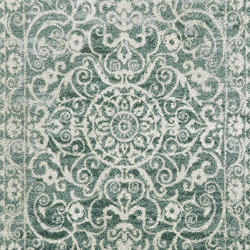 Maples Rugs Pelham Vintage Kitchen Rugs Non Skid Accent Area Carpet [Made in USA], 1'8 x 2'10, Light Spa