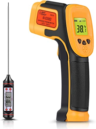 Infrared Thermometer, Digital IR Laser Thermometer Temperature Gun -26°F~1022°F (-32°C~550°C) Temperature Probe For Cooking/Air/Refrigerator - Meat Thermometer Included