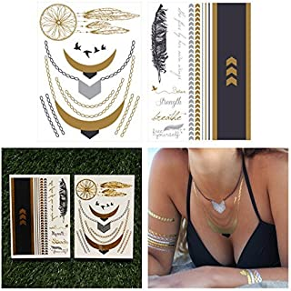 Tattify Metallic Jewelry and Quotes Temporary Tattoos, Egyptian Goddess, Set of 2