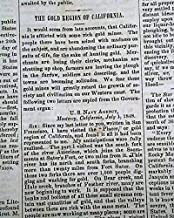 Early CALIFORNIA GOLD RUSH Pre 49ers Letters from the Fields 1848 Old Newspaper THE NATIONAL ERA, Washington, D.C, Sept. 28, 1848