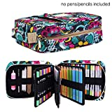 qianshan Pencil Case Holder Slot - Holds 202 Colored Pencils or 136 Gel Pens with Zipper Closure - Large Capacity Pen Organizer for Watercolor Pens or Markers for Beginner and Artist Blossom
