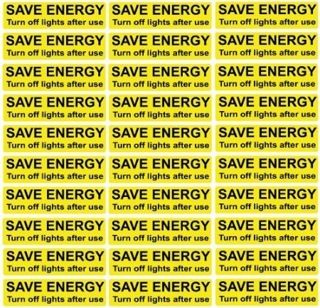 30x Save Energy Turn Off Lights - 'Black and Yellow' Light Switch Stickers Decals 7cm x 2cm by ALL PERSONALISED GIFTS