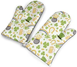 St. Patrick's Day Lucky Shamrocks Horseshoe with Goins in Clover Leaves Oven Mitts Cooking Gloves 480 F Heat Resistant, Non Slip Grip Pot Holders Kitchen Oven BBQ Grill Fire Pits Cooking Baking