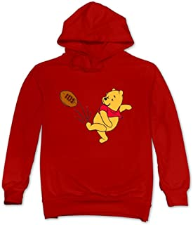 CRIS Cute Winnie The Pooh With Soccer Hoodie Red For Men