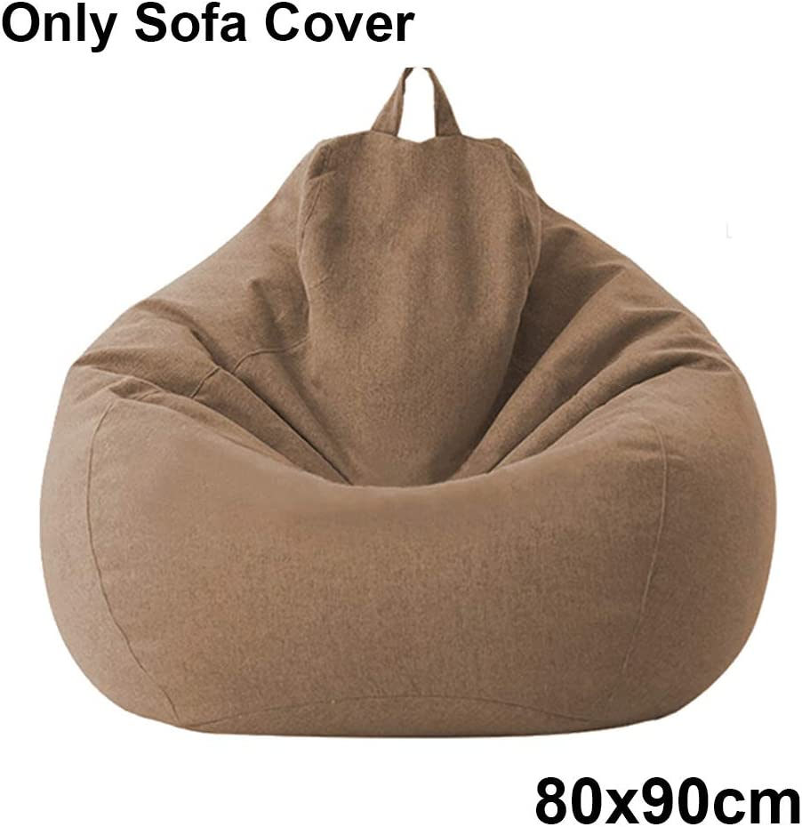 Large Sofa Cover Ergonomic Lazy Lounger Moisture-Proof Bean Bag Cover for Home Indoor Living Room Cotton Linen Bean Bag Cover 27.5x31.5//31.5x35.5 inch Without Filler
